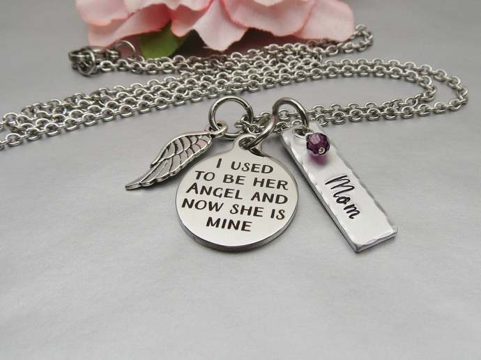 I used to be her angel now she is mine Memory Necklace. Personalized Hand