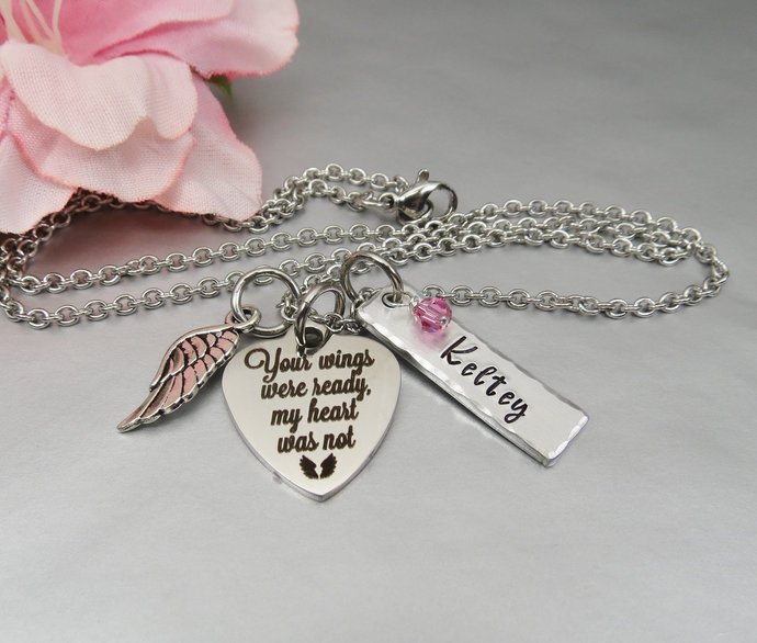 Your wings were ready my heart was not Necklace. Personalized Hand Stamped Name