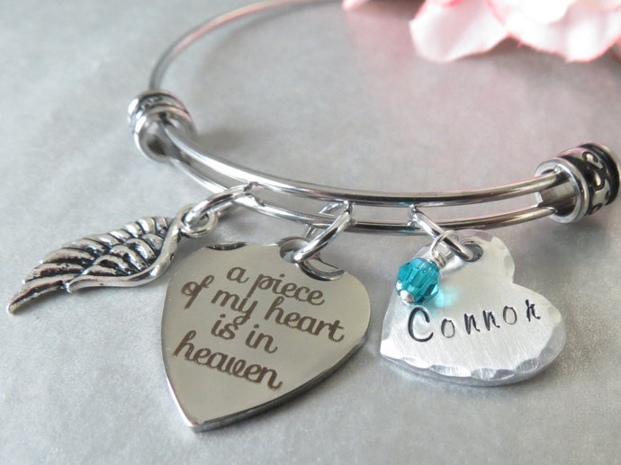 A Piece of my Heart is in Heaven Memory Bracelet. Personalized Hand Stamped Name