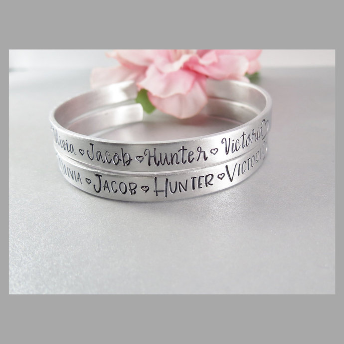 Personalized Names Cuff Bracelet. Hand Stamped Family Names and Hearts Mothers