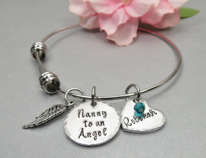 Nanny to an Angel Personalized Memory Bracelet. Personalized Hand Stamped Name