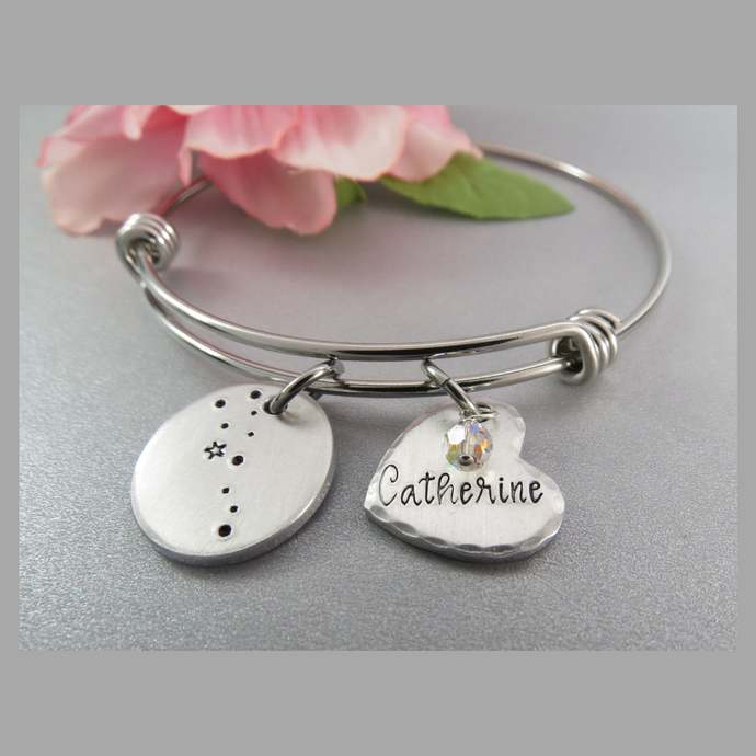 Taurus Constellation Bangle Bracelet. Hand Stamped Personalized Heart Charm