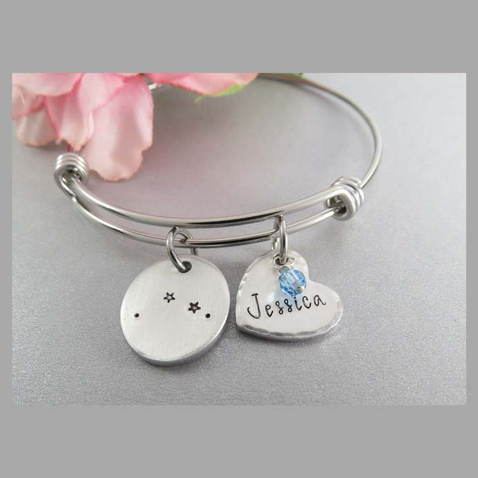 Aries Constellation Bangle Bracelet. Hand Stamped Personalized Heart Charm