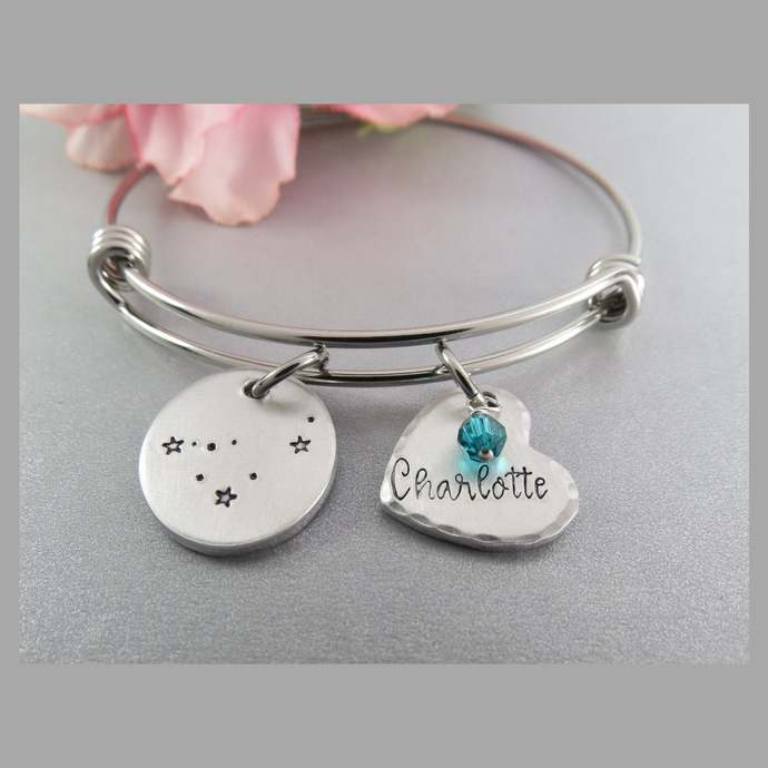 Capricorn Constellation Bracelet. Hand Stamped Personalized Heart Charm