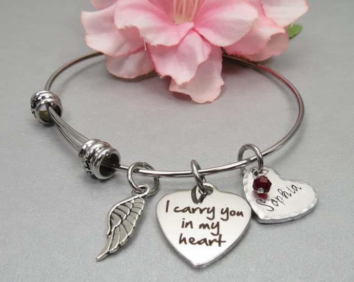 I Carry You in my Heart Memory Bracelet. Personalized Hand Stamped Name on Heart