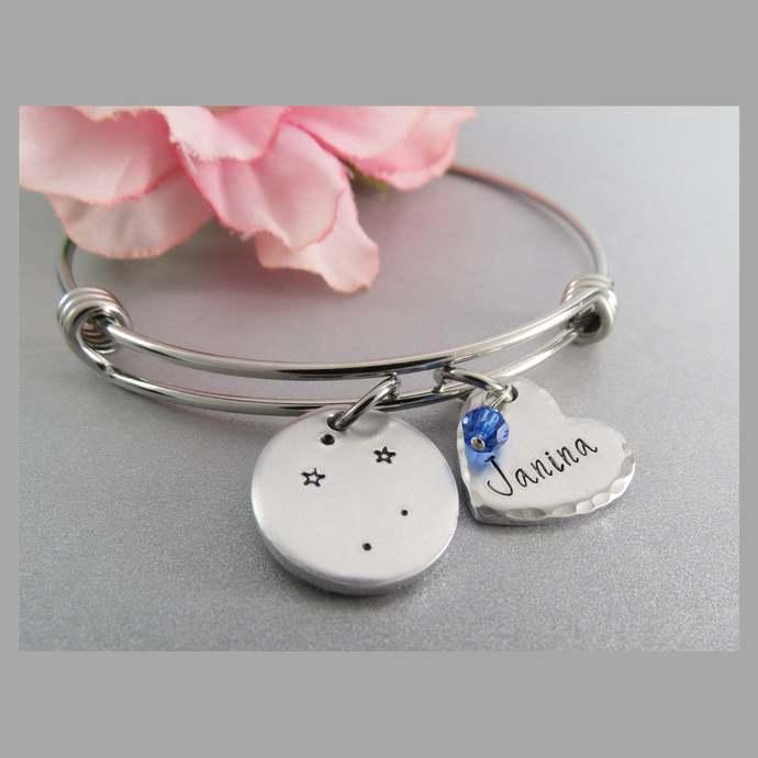 Libra Constellation Bracelet. Hand Stamped Personalized Heart Charm Bracelet.