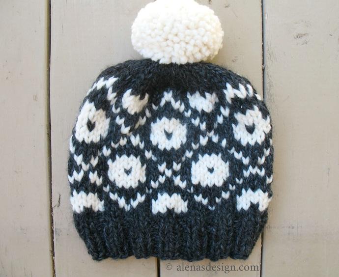 Knitting Hat Pattern 235 Pom Pom Slouchy Beanie Hat Fair Isle Pompom Hat