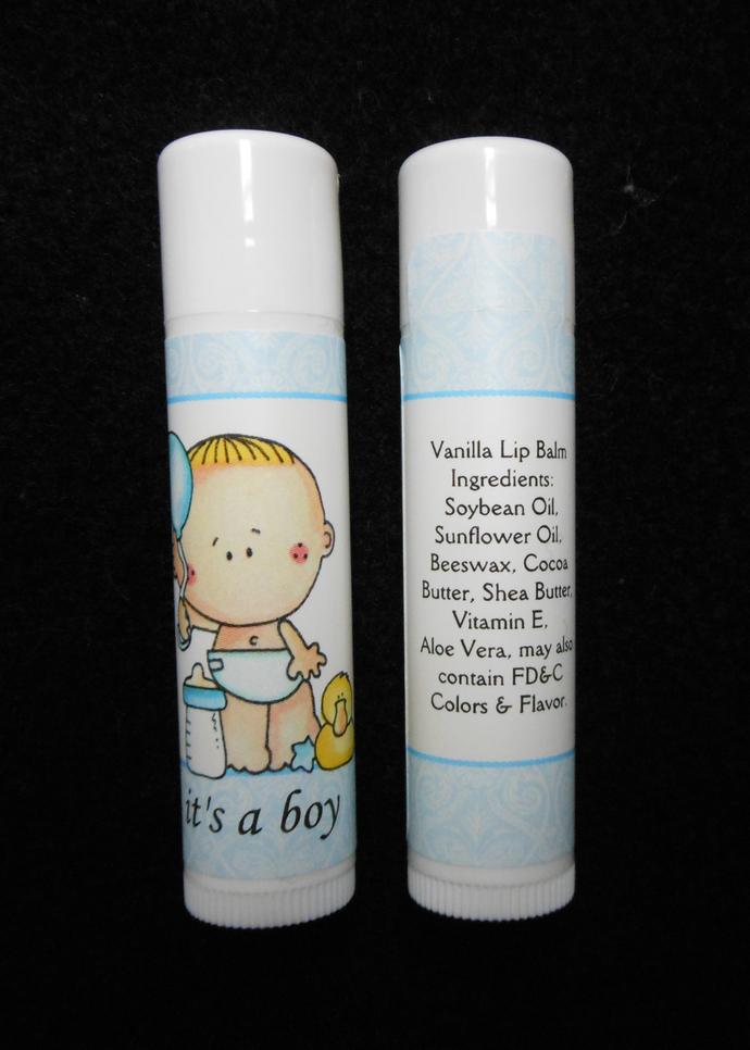 It's A Boy Vanilla Lip Balm Baby Shower Favor Gender Announcements, Set of 10