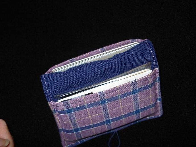 Card Wallet: Purple and Navy Plaid