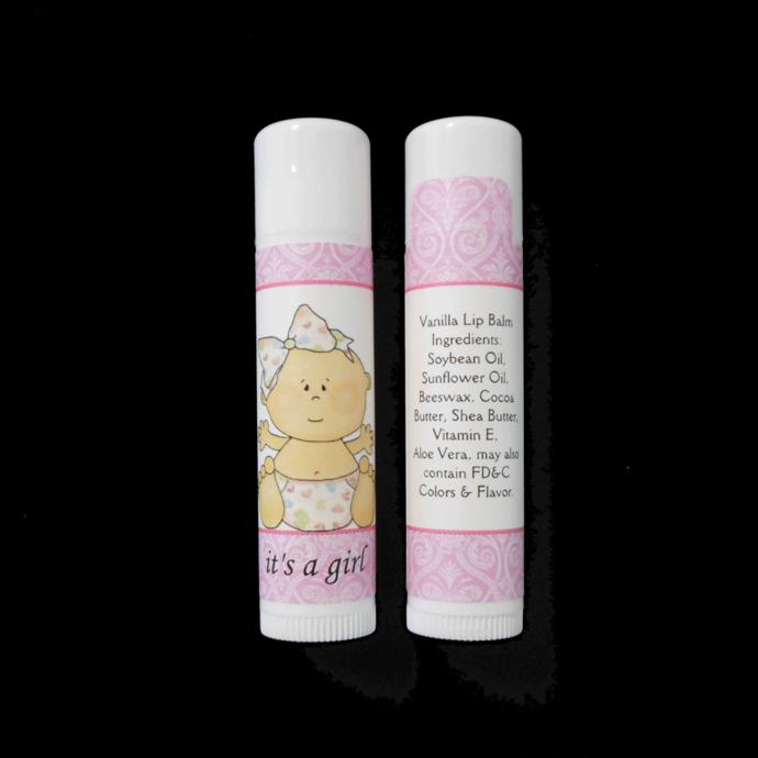 It's A Girl Vanilla Lip Balm Baby Shower Favor Gender Announcements, Set of 10