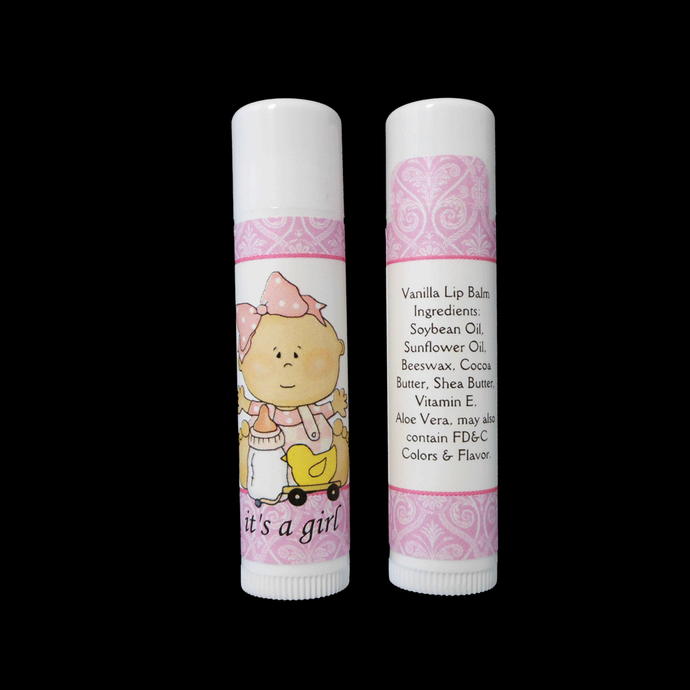 It's A Girl Vanilla Lip Balm Baby Shower Favor Gender Announcements, Set of 10