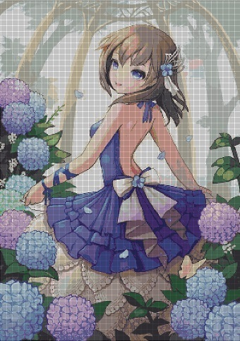 Flowers girl- anime cross stitch pattern in pdf ANCHOR