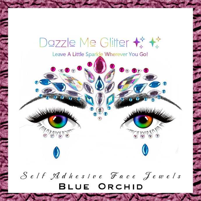 Blue Orchid - Self adhesive face and body gems