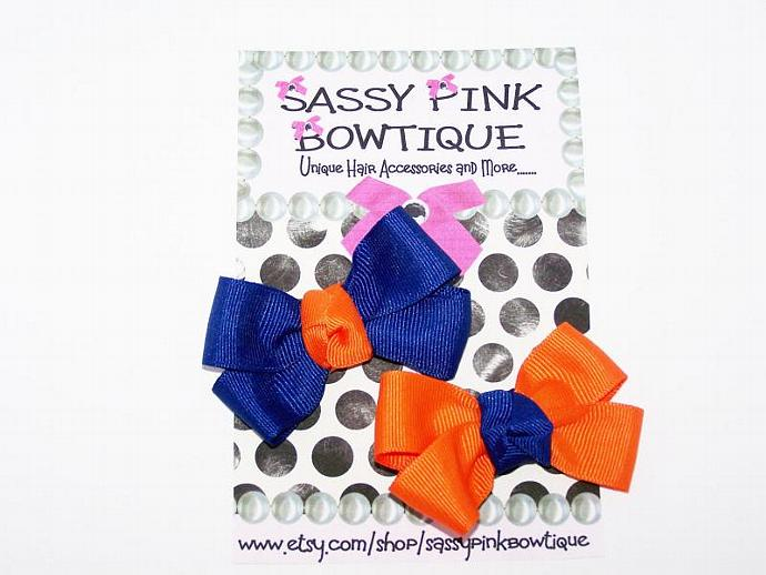 Go Gators Boutique Bows, Orange and Blue Mini Bows, Baby, Toddlers, Teens, and