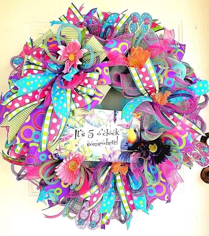 Summer Wreath, Burlap wreath, front door wreath, wreath, year round wreath, door