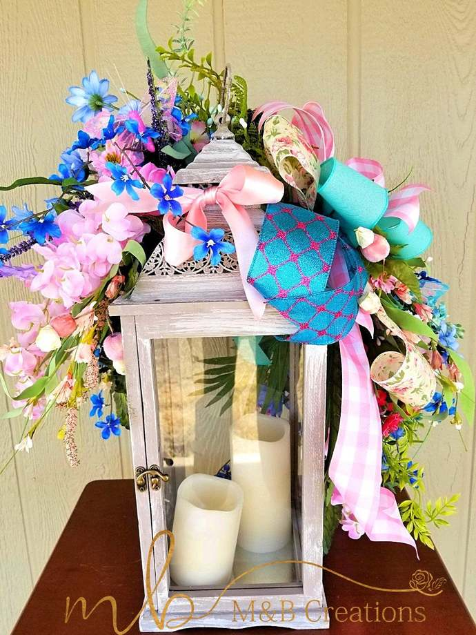 XL Spring lantern swag, lantern swags spring,lantern swags summer,blue