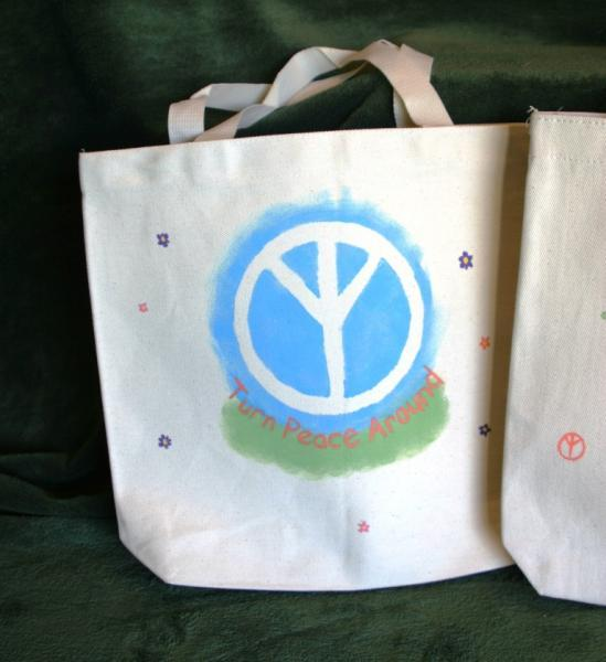 Handpainted Tote Bag in Blue and Green with Flowers - TPA