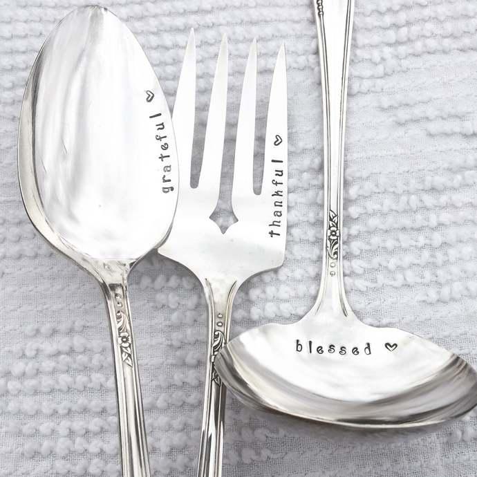 Hand stamped vintage silver Holiday serving set - Grateful, Thankful, Blessed ,