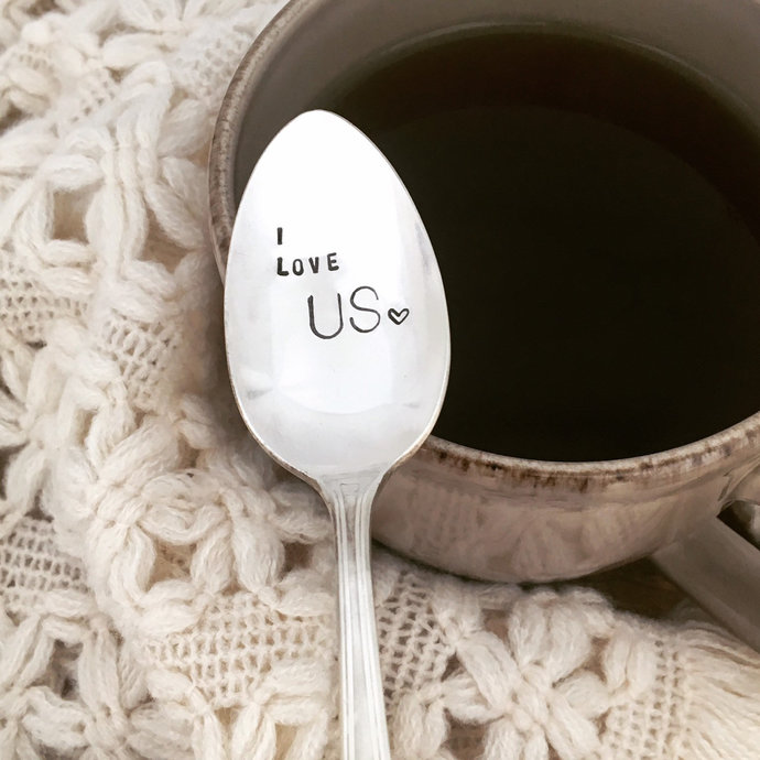 I Love Us - hand stamped vintage silver spoon  teaspoon, coffee spoon,
