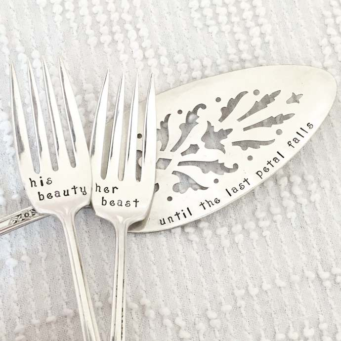 Beauty and the Beast Wedding Cake Server and Fork Set - Until the Last Petal