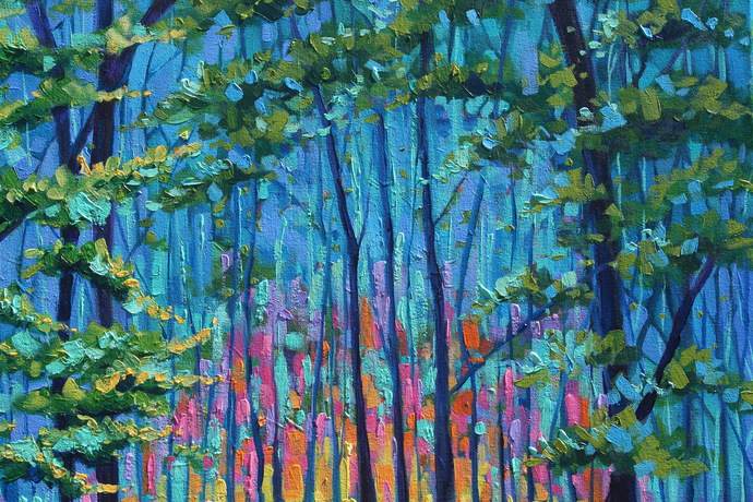 Original Forest Oil Painting on Canvas Sunrise Signed Rebecca Beal