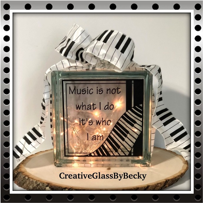 Music Room Decor, Piano Player Gift, Gift For Music Lover, Lighted Glass Blocks,