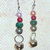 Holiday Dangle Earrings beaded in Red Green and Gold colors with Real Jingle