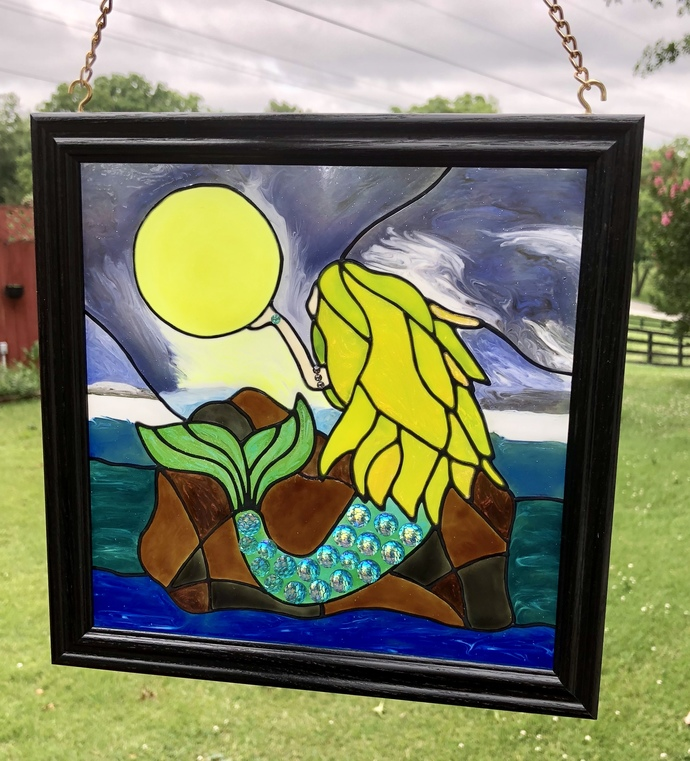 Mermaid and Moon, Mermaid Window Art, Stain Glass Mermaid, Mermaid On Rock, Faux