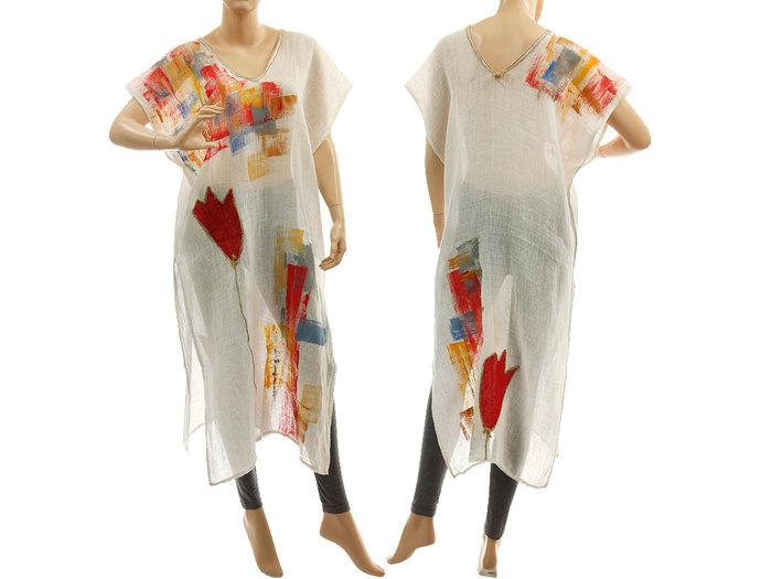 Boho white linen tunic, hand painted summer party tunic linen gauze tunic, art