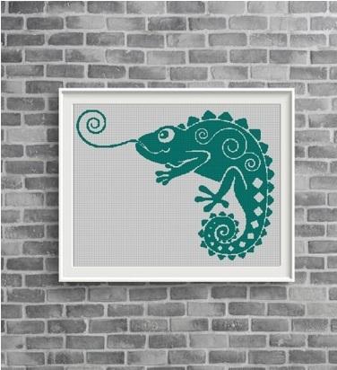 Chameleon silhouette cross stitch pattern in pdf
