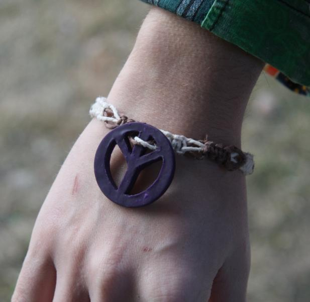 OOAK Multi-colored Hemp Anklet with Purple Peace Sign - TPA