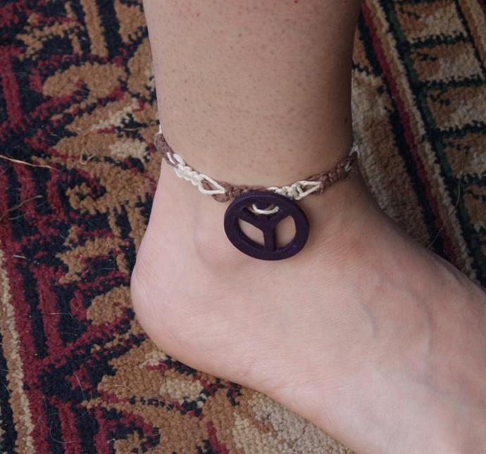 OOAK Multi-colored Hemp Anklet with Purple Peace Sign - TPA