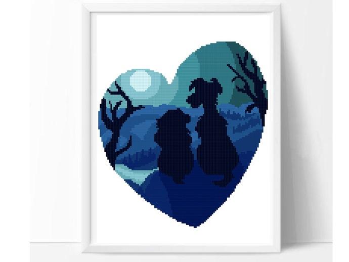 Dog Silhouette modern cross stitch pattern, lady, tramp, love, heart, fairytale,