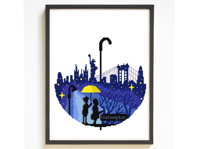 Yellow umbrella Silhouette modern cross stitch pattern, nature, love, mother,