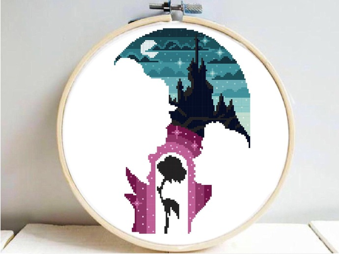 Princess Silhouette modern cross stitch pattern, beauty, beast, castle,