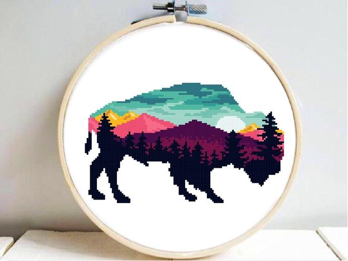 Buffalo silhouette modern cross stitch pattern, nature, landscape, forest,