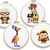 Cute cartoon characters modern cross stitch pattern, adventure, movie, doll,