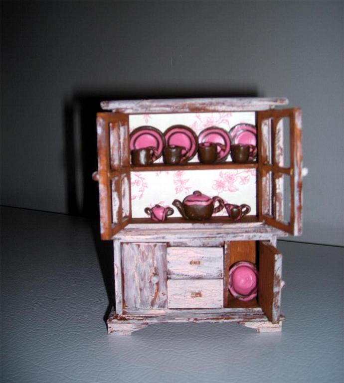 Dollhouse Miniature Rustic China Cabinet