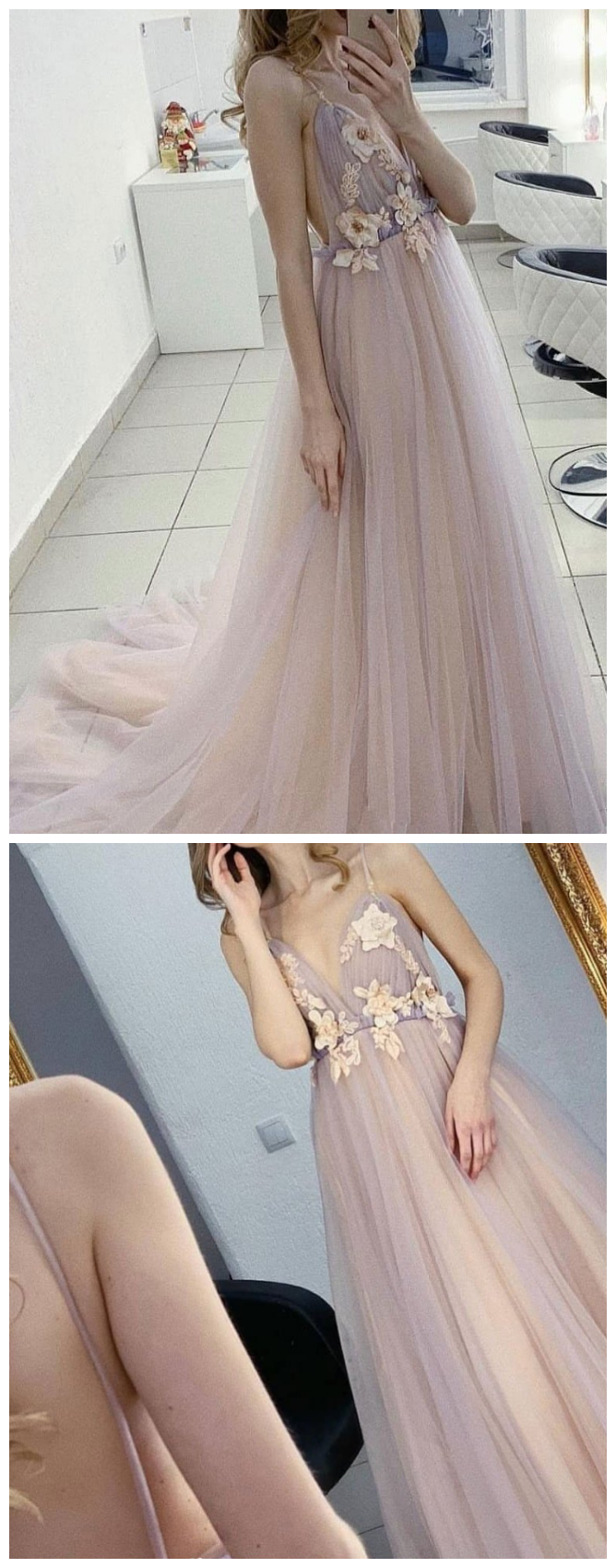 Tulle sweet long prom dress, tulle evening dress