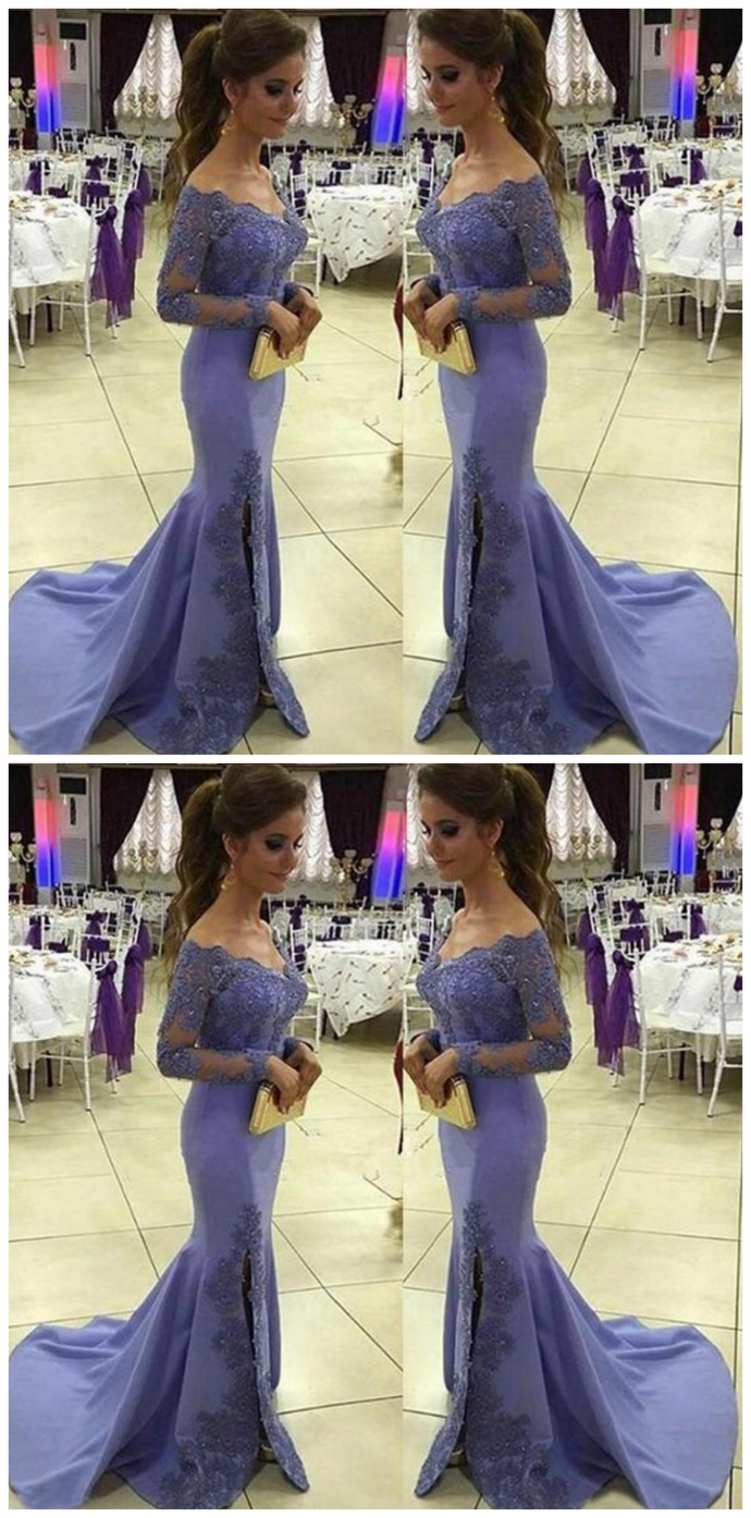 Appliques Prom Dress with Off Shoulder Full Sleeves Custom Made Mermaid Long