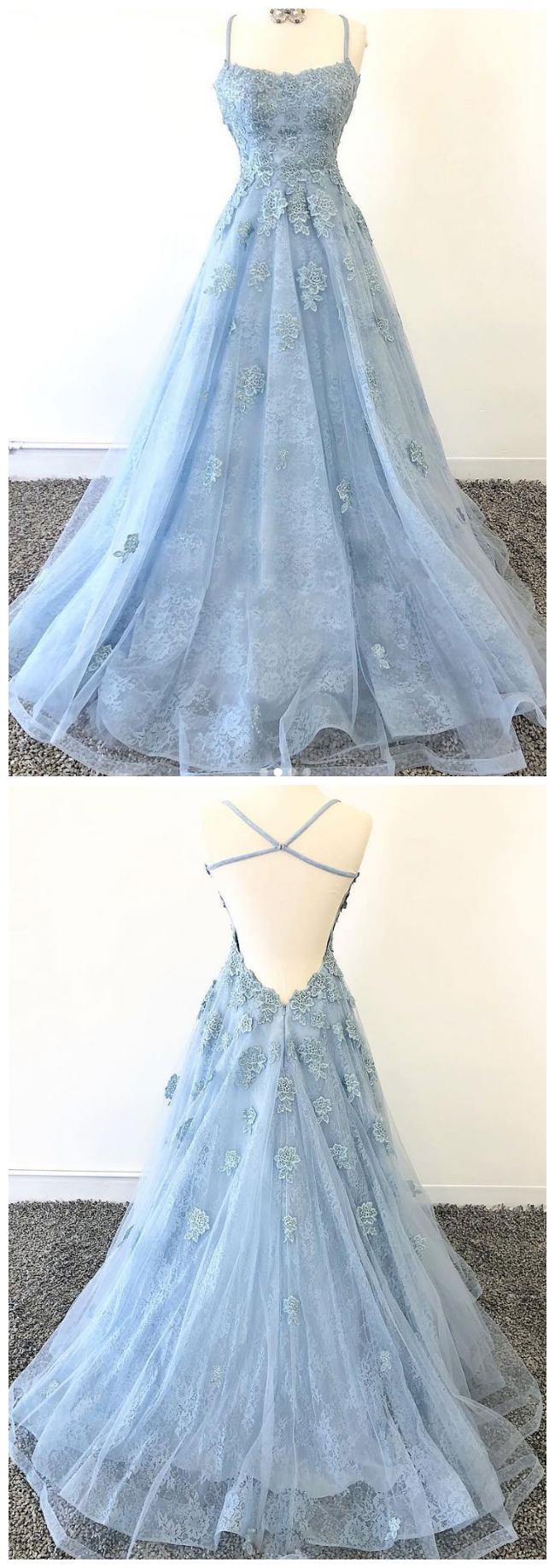 tulle lace long prom dress, blue tulle lace evening dress