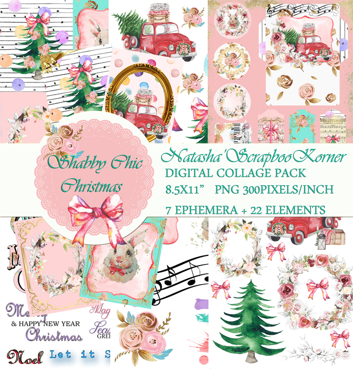 Shabby Chic Christmas COLLAGE DIGITAL PRINTABLE COLLECTION Junk Journal,