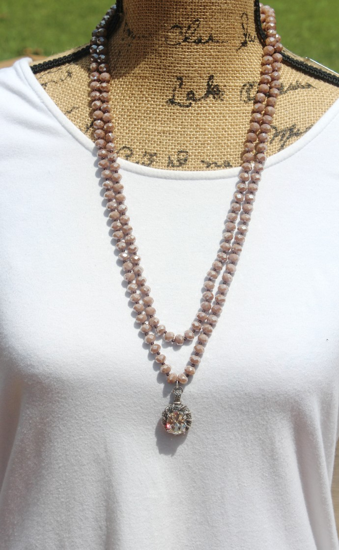 Wear with Everything Double Wrap Beaded Necklace Hand Knot Bohemian Glam Jewelry