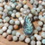 Calming Double Wrap Amazonite Beaded Necklace hand knot with Carved Labordorite