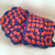 Long Blue Persimmon Pink Crocheted Granny Rectangle Scarf