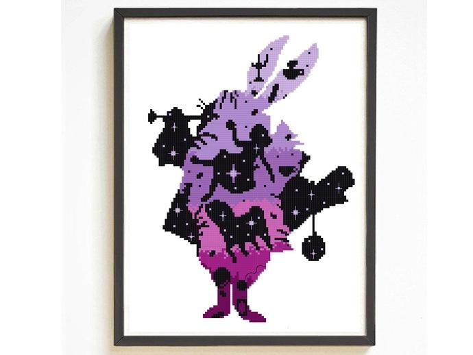 Alice in Wonderland Silhouette modern cross stitch pattern, nature, friend,