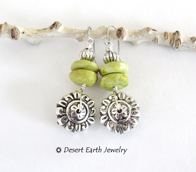 Silver Flower Earrings with Green Serpentine Stones - Earthy Nature Jewelry