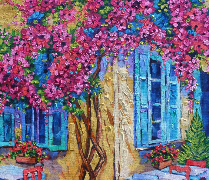 Quaint Cafe an Original Oil Painting by Rebecca Beal on thick Gallery Wrapped