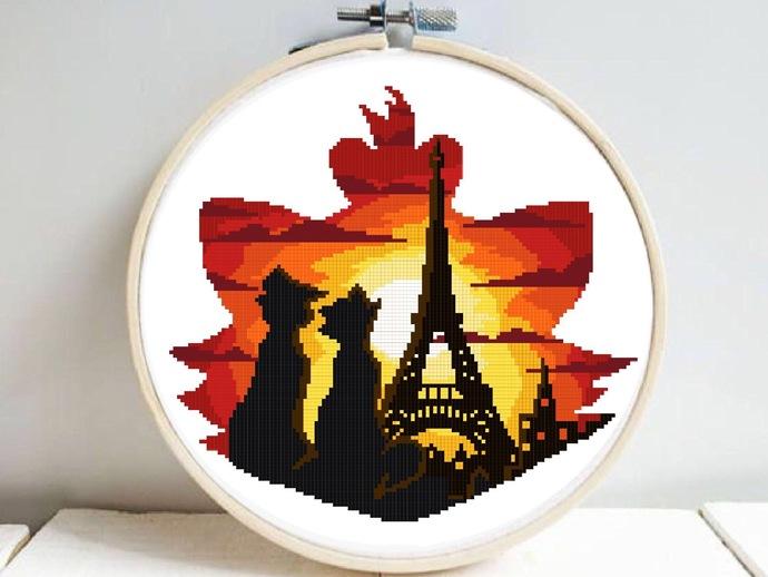 Cat Silhouette modern cross stitch pattern, Paris, sunset, friends, fairytale,