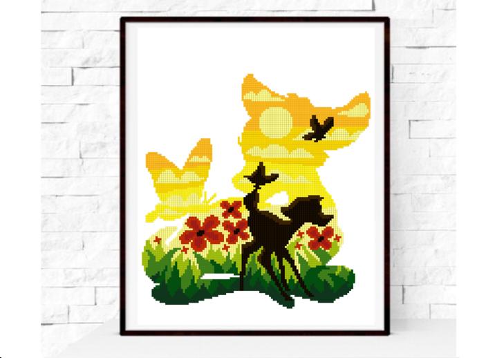 Deer Silhouette modern cross stitch pattern, nature, forest, cute, animal